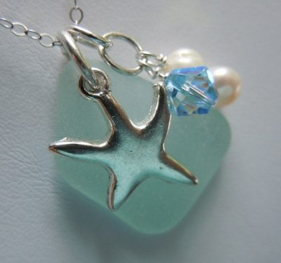 Aqua Beach Glass Jewelry