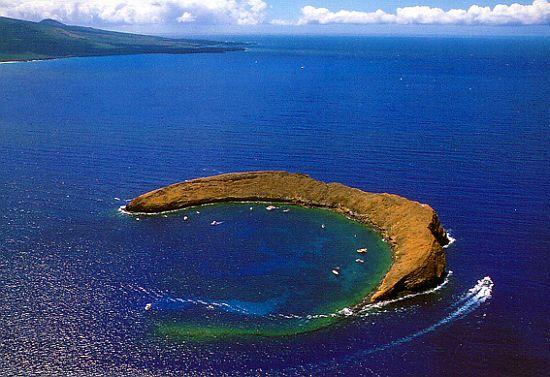 arc shaped molokini crater in maui county hawaii