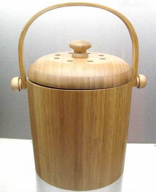 bamboo kitchen compost pail IFc8D 11446