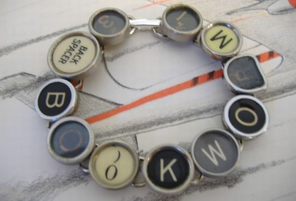 Bookworm Typewriter Key Bracelet
