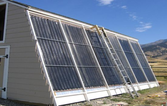 Green diy solar thermal installation slants for better for Diy solar collector