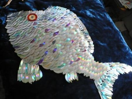 fish made out of cds