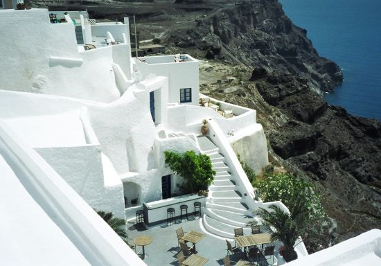 greece white buildings
