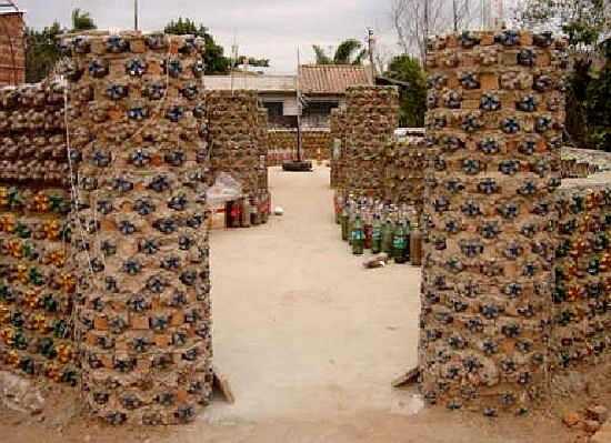 houses made from recycled bottles