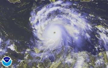 hurricane felix is pictured moving west in the car