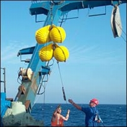instruments being deployed during an ocean voyage