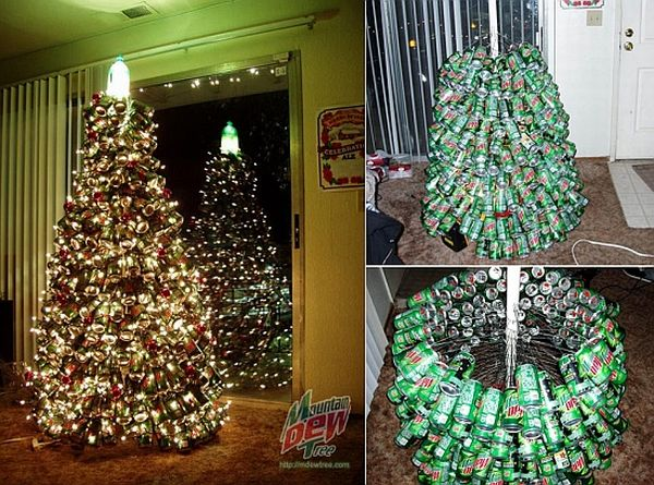Christmas tree made from mountain dew cans