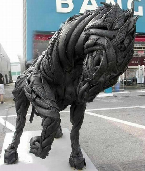 recycled tire sculptures3