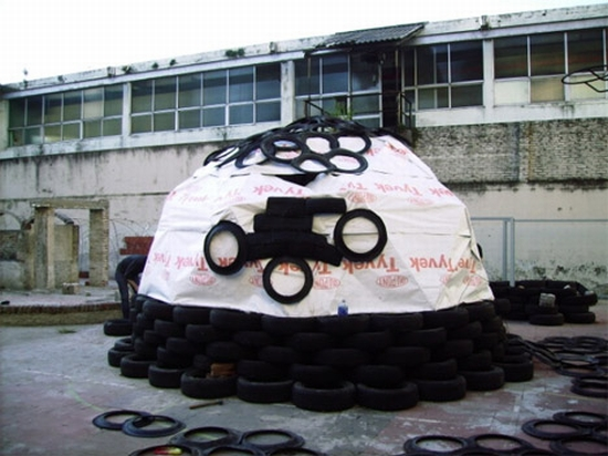 how to make a dome shelter with tyres