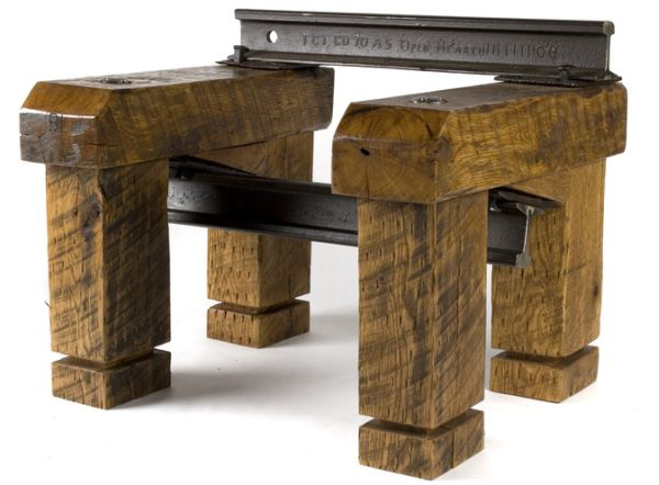 recycled wooden railroad ties furniture 2