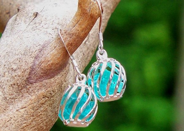 Recycled Jewelry Glass Earrings