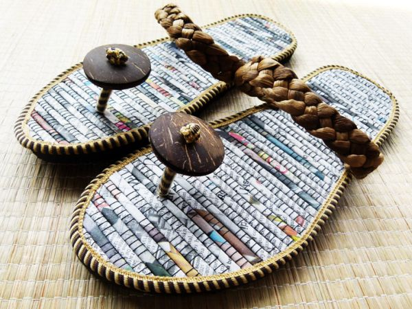 Stylish flip flops pop out of recycled newspaper green for Useful things to make out of recycled materials