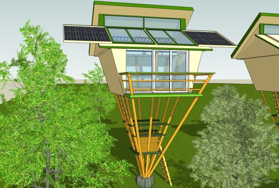 self sufficient eco friendly bamboo tree house 581