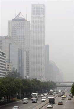 the chinese capital remained shrouded with smog on