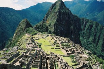 the machu picchu view from helicopter