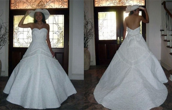 Chic Wedding Dress Contest : Chic wedding contest recycles toilet paper into beautiful gown