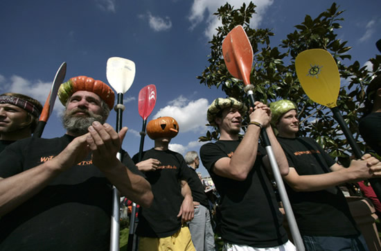 worlds largest pumpkin boat race begins in germany