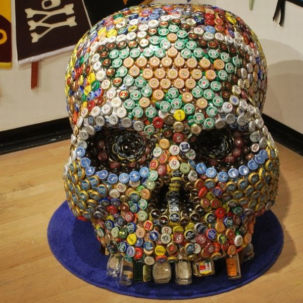 Bear Bottle Caps Help Make A Human Skull Green Diary